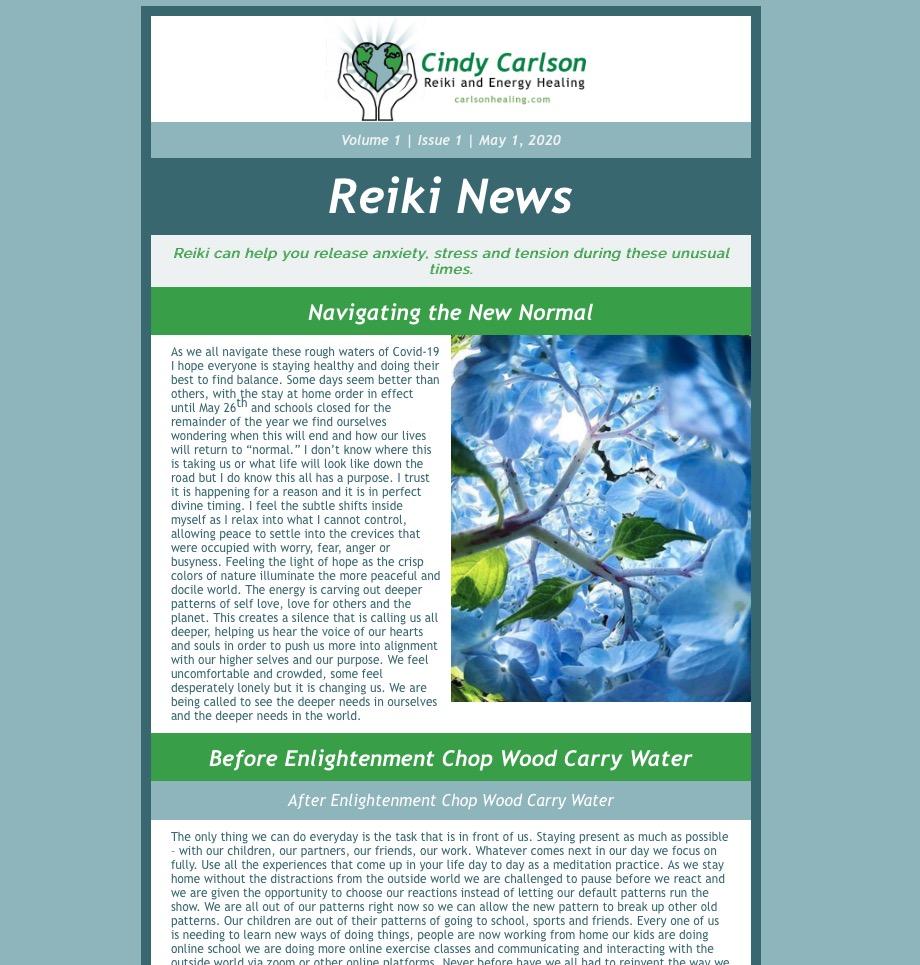 Cindy Carlson Reiki E-Newsletter
