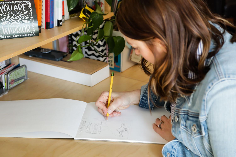 Kallie Johnson Sketching at Tingalls Graphic Design